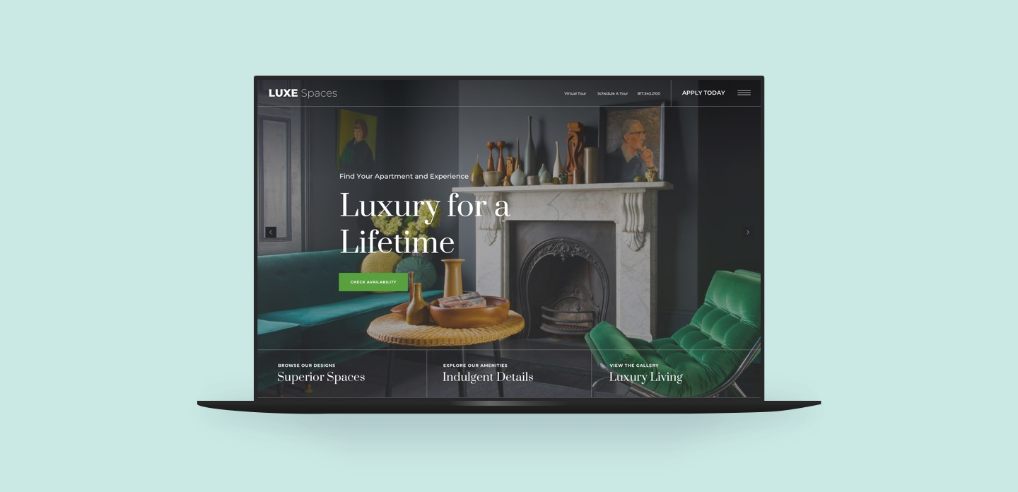 Premium Theme Luxe Spaces displayed on a laptop